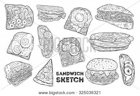 Sandwich Sketch Set. Hand Drawing Food. All Elements Are Isolated In White Background.