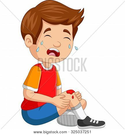 Vector Illustration Of Cartoon Little Boy Crying With Scraped Knee