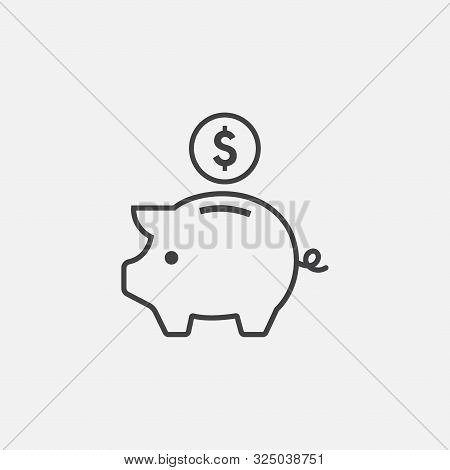 Piggy Bank Outline Icon Vector Illustration. Piggy Bank Linear Symbol, Earning Icon Illustration, Pi