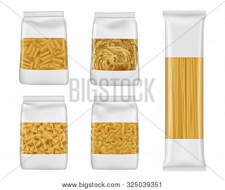 Pasta And Italian Macaroni Food Package 3d Vector Mockups Of Foil And Plastic Bags With Windows. Rea