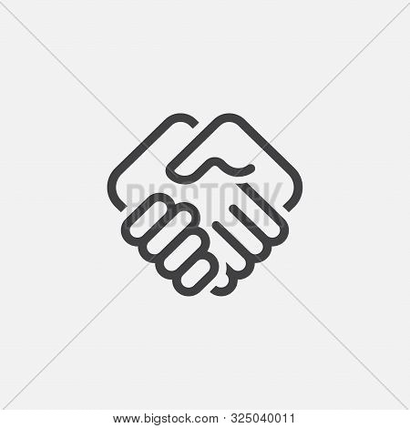 Hand Shake Linear Icon Logo Design, Hand Shake Illustration, Agreement Icon Linear