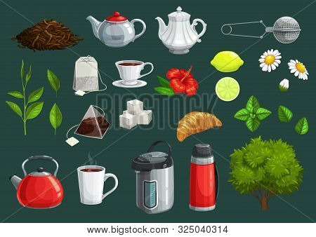 Tea Cup, Green Leaf And Teapot Vector Icons Of Hot Beverage Design.tea Bags, Lemon And Kettle, Sugar