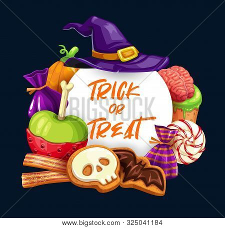 Halloween Trick Or Treat Sweets Vector Design. Pumpkins And Witch Hat With Chocolate Candies, Jelly