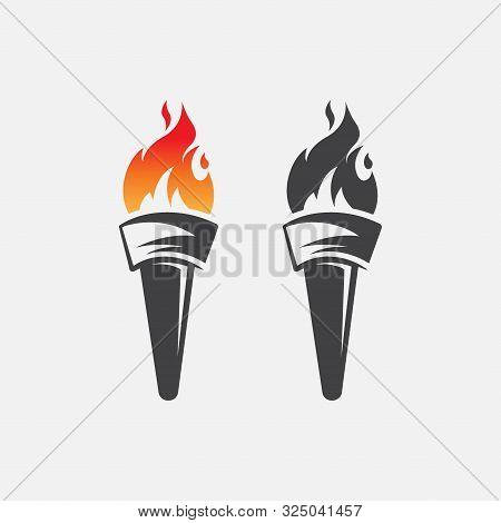 Torch Icon Logo Vector Illustration, Torch Design Vector
