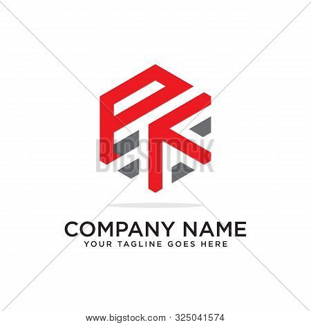 P And K Logo Design Template, Initial Logo Vector, Hexagonal Logo Inspiration