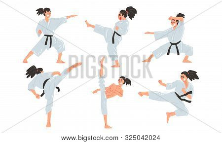 Male Karate Fighter In White Kimono Practicing Martial Art Set, Man Doing Karate Vector Illustration