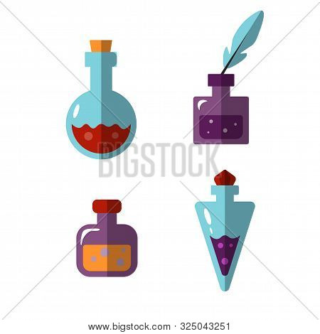 Potion Bottles Vector Icons Of Witch Magic Elixir Or Alchemist Poison. Evil Wizard Glass Jars And Ma