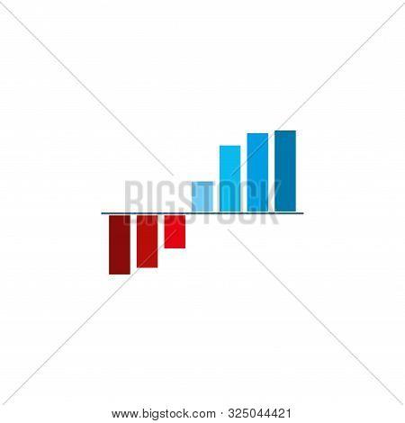 Bar Graph Chart Icon. Vector Illustration, Flat Design.