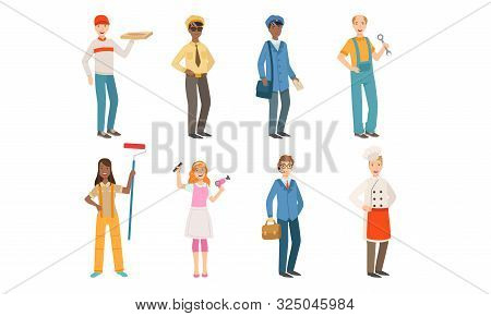 People Of Different Professions Set, Courier, Taxi Driver, Postman, Locksmith, Painter, Hairdresser,