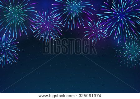 Colorful Fireworks On A Dark Blue Background. Bright Fireworks In The Night Sky With Stars. Beautifu