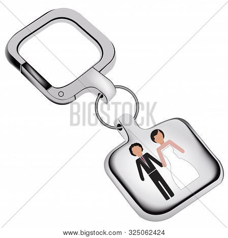 Silver Keychain With Wedding Image Silver Keychain With Wedding Image