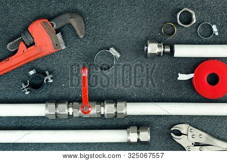 Repair Plumbing Concept. Components And Tools For Repairing.