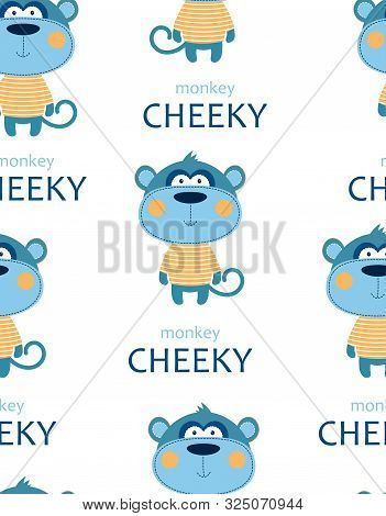 Seamless Pattern Of Cheeky Monkey In Striped Tshirt With Lettering Isolated On White Background, Tsh