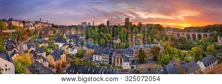 Luxembourg City, Luxembourg. Panoramic Cityscape Image Of Old Town Luxembourg City Skyline During Be
