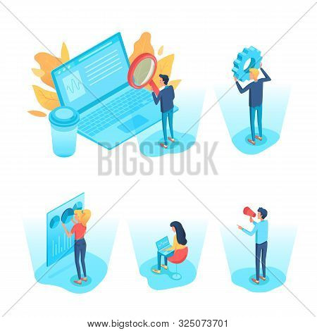 Business Analysts Isometric 3d Illustrations Set. Data Analysis, Analytics. Commerce Conversion, Met
