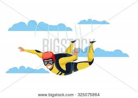 Skydiver Flat Vector Character. Skydiving, Parachuting Sport Cartoon Illustration. Parachutist Flyin