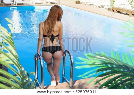 Back View Of Sexy Model With Fit Body Relaxing Near Swimming Pool. Tourist Girl In Swimsuit Posing A