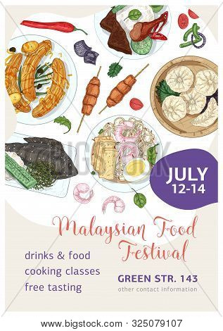 Malaysian Food Festival Vector Poster Template. Asian Traditional Cuisine Realistic Hand Drawn Backg