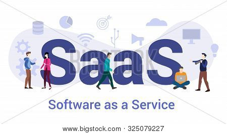 Saas Software As A Service Concept With Big Word Or Text And Team People With Modern Flat Style - Ve