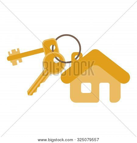 Keys From New House. Mortgage, Rent, Security Concept, Vector Illustration In Flat Style
