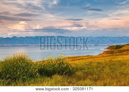 Sea Landscape With Mountains On Background At Sunset, Vir Island In Croatia, Europe.