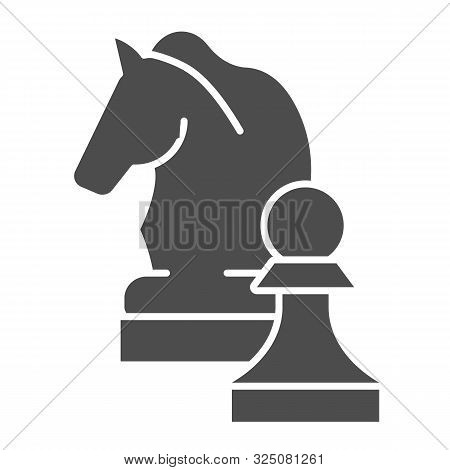Chess Knight Solid Icon. Chess Horse Vector Illustration Isolated On White. Equine Glyph Style Desig