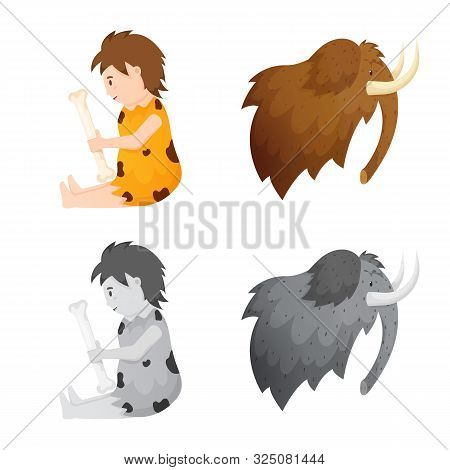 Isolated Object Of Evolution And Neolithic Logo. Set Of Evolution And Primeval Vector Icon For Stock