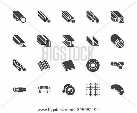 Stainless Steel Flat Glyph Icons Set. Metal Sheet, Coil, Strip, Pipe, Armature Vector Illustrations.