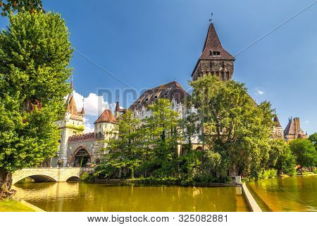 Vajdahunyad Castle In The City Park Of Budapest, Hungary, Europe.