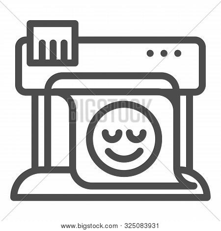 Plotter Line Icon. Large Format Printer Vector Illustration Isolated On White. Print Machine Outline