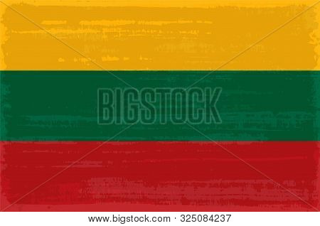 Lithuanian National Flag Isolated Vector Illustration. Travel Map Design Graphic Element. Europe Cou
