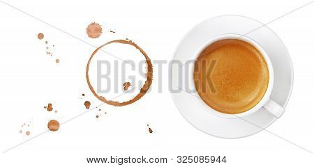 White Cup Full Of Espresso Coffee On Saucer, With Brown Circle Coffee Stains And Drops Isolated On W