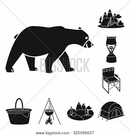 Vector Illustration Of Barbeque And Leisure Icon. Set Of Barbeque And Nature Stock Vector Illustrati