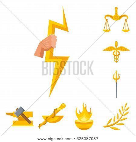Vector Design Of Attributes And Greek Symbol. Collection Of Attributes And God Stock Vector Illustra