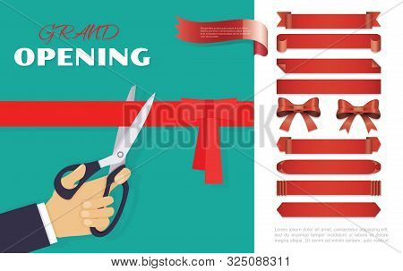 Grand Opening Ceremony Concept With Red Ribbons Banners Bows And Male Hand With Scissors Cutting Rib
