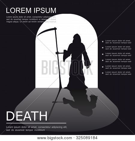 Death Spooky Monochrome Poster With Creepy Grim Reaper Silhouette Standing In Doorway Vector Illustr