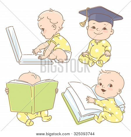Set With Genius Clever Babies In Pajamas, Studying.