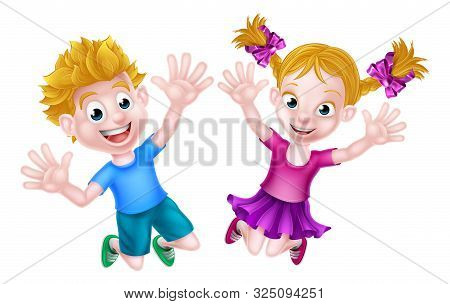 Cartoon Young Boy And Girl Kids Jumping For Joy With Hands In The Air