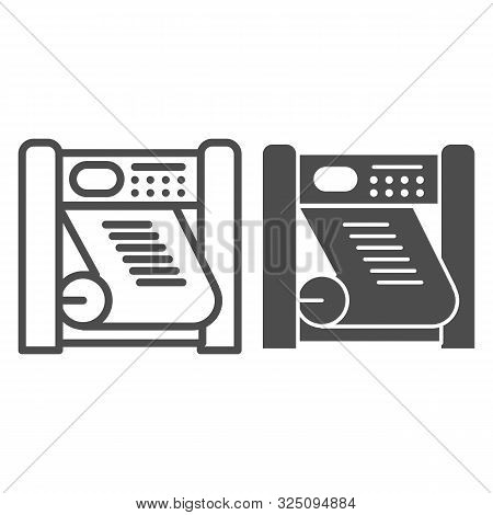 Printing Press Line And Glyph Icon. Large Format Printer Vector Illustration Isolated On White. Plac