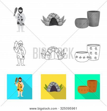Vector Illustration Of Evolution And Neolithic Icon. Set Of Evolution And Primeval Stock Vector Illu