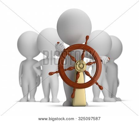 3d Small Person At The Helm. Captain And Crew. 3d Image. White Background.