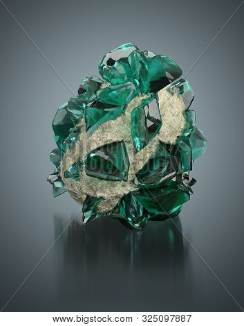 Green Crystals On A Reflective Background. 3d Image.