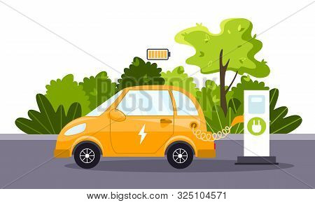 An Electric Car Charges From An Electric Vehicle Charging Station. Full Charged Battery. Concept Of
