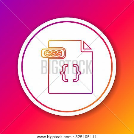 Color Line Css File Document. Download Css Button Icon Isolated On Color Background. Css File Symbol