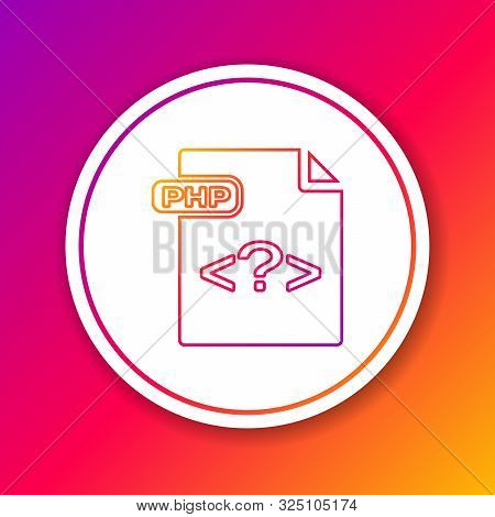 Color Line Php File Document. Download Php Button Icon Isolated On Color Background. Php File Symbol