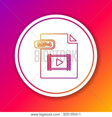 Color Line Mp4 File Document. Download Mp4 Button Icon Isolated On Color Background. Mp4 File Symbol