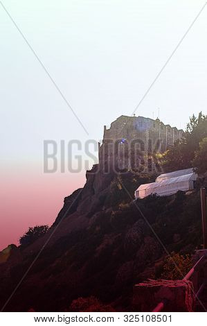 The Stavrovouni Monastery In Bright Back Ligh, Greek Orthodox Monastery Which Stands On The Top Of T
