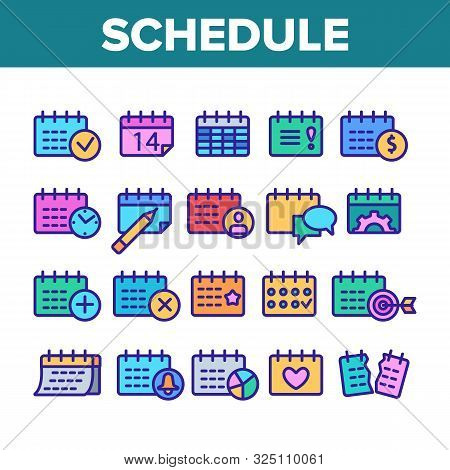 Schedule Collection Elements Icons Set Vector Thin Line. Calendar With Clock And Human, Heart And Be