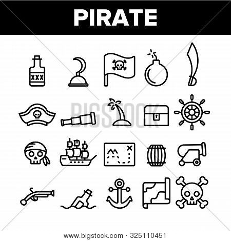 Pirate Things Collection Elements Icons Set Vector Thin Line. Pirate Triangle Hat And Sabre, Skull W