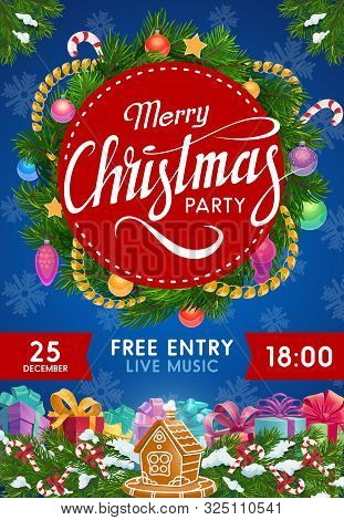 Christmas Party Invitation Vector Design With Xmas Wreath Of Gifts And Balls. New Year Winter Holida